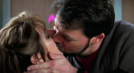 Riker and troi kissing yuck scene from star trek insurrection movie